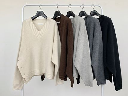 HUE Sweaters Wool Street Style V-Neck Collaboration Long Sleeves Plain 7