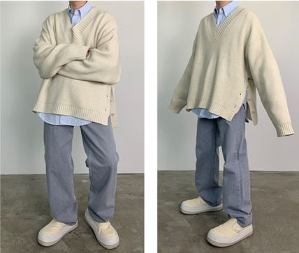 HUE Sweaters Wool Street Style V-Neck Collaboration Long Sleeves Plain 16