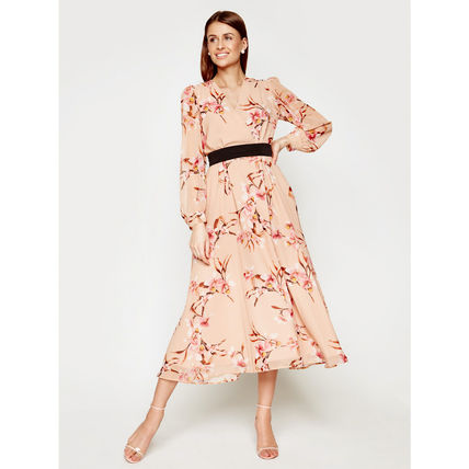 Flower Patterns Casual Style Maxi A-line Flared V-Neck