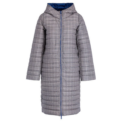 Gingham Glen Patterns Plain Medium Long Down Jackets