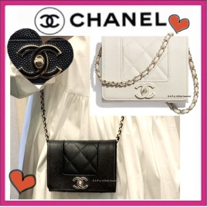 CHANEL MATELASSE Lambskin Bag in Bag Chain Plain Elegant Style Crossbody
