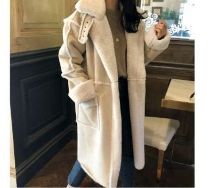 RONIEL Faux Fur Street Style Plain Long Oversized Bridal Shearling