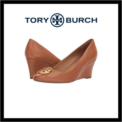 Tory Burch Round Toe Rubber Sole Casual Style Plain Leather Party Style