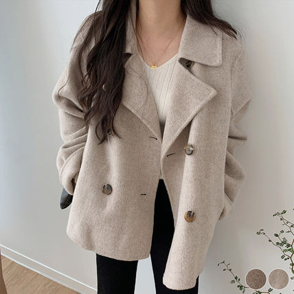 Short Casual Style Plain Office Style Peacoats