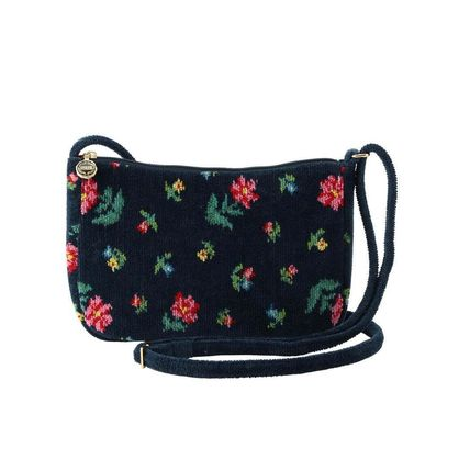 Flower Patterns Casual Style Collaboration Shoulder Bags