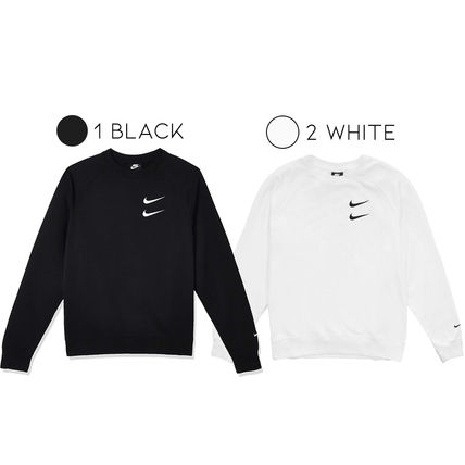 Nike U-Neck Long Sleeves Plain Cotton Logos on the Sleeves Logo