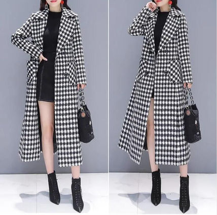 Front Button Glen Patterns Zigzag Casual Style Long