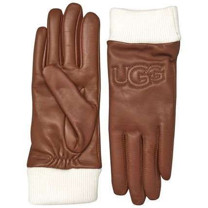 UGG Australia Wool Cashmere Leather Logo Leather & Faux Leather Gloves