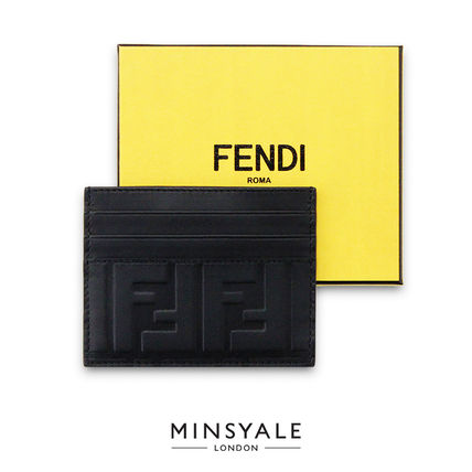 FENDI Unisex Calfskin Leather Logo Card Holders