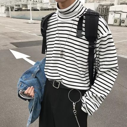 Cable Knit Pullovers Stripes Unisex Nylon Street Style