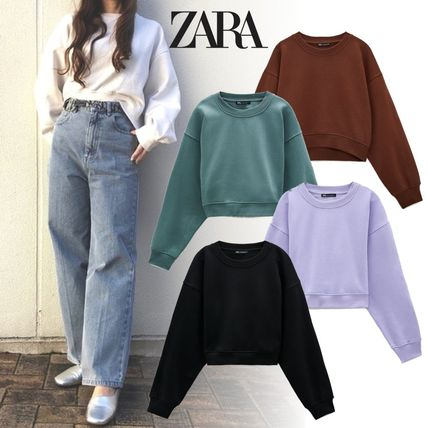 ZARA Plain Cotton Hoodies & Sweatshirts