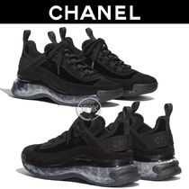 CHANEL Blended Fabrics Plain Logo Sneakers