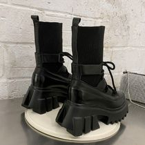 Wedge Square Toe Platform Mountain Boots Lace-up
