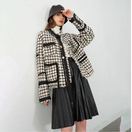Short Gingham Glen Patterns Tartan Zigzag Casual Style Wool