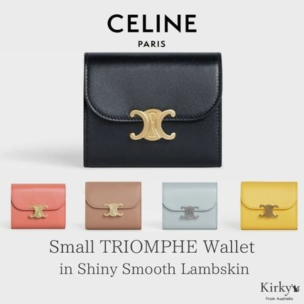 CELINE Triomphe Plain Leather Folding Wallet Small Wallet Logo Icy Color