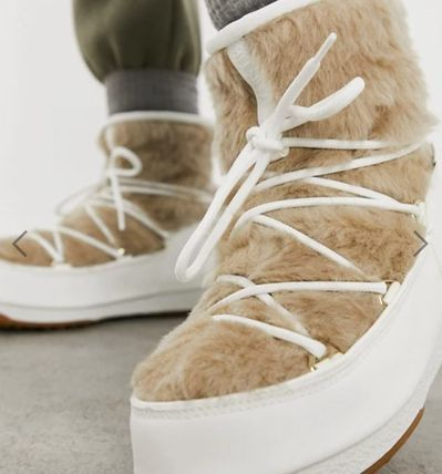 Round Toe Lace-up Casual Style Street Style Lace-up Boots