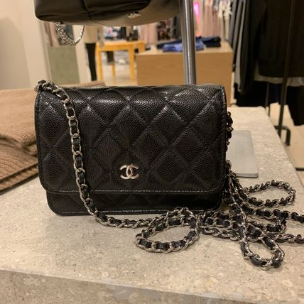 CHANEL Calfskin 2WAY Chain Plain Crossbody Logo Shoulder Bags