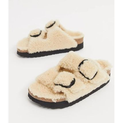 Open Toe Casual Style Plain Leather Footbed Sandals