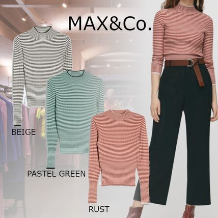 Max&Co. Short Stripes Casual Style Rib Long Sleeves High-Neck