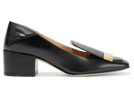 Sergio Rossi Casual Style Plain Leather Block Heels Party Style