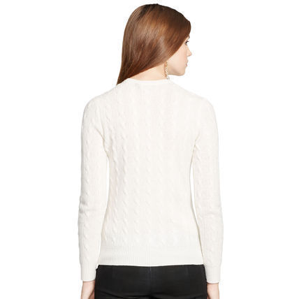 Ralph Lauren Cable Knit Casual Style Wool Cashmere V-Neck Long Sleeves
