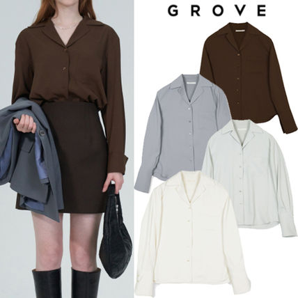Casual Style Street Style Long Sleeves Shirts & Blouses