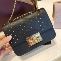 FURLA Casual Style Studded 2WAY Chain Plain Leather Party Style