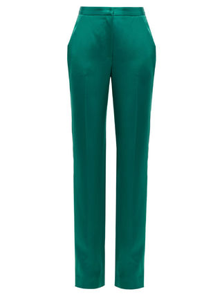 Wool Silk Plain Office Style Elegant Style Pants