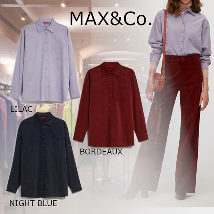 Max&Co. Casual Style Long Sleeves Plain Cotton Medium Office Style