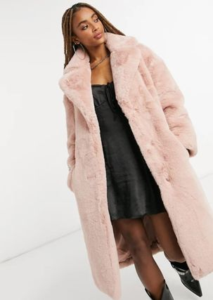Faux Fur Plain Long Coats