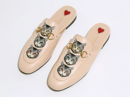 GUCCI Rubber Sole Casual Style Studded Street Style Leather