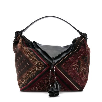Paisley Casual Style A4 2WAY Leather Elegant Style Crossbody