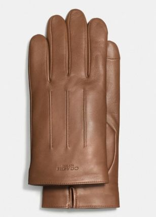 Coach Plain Leather Leather & Faux Leather Gloves
