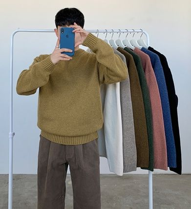 Wool Street Style Collaboration Long Sleeves Plain Oversized