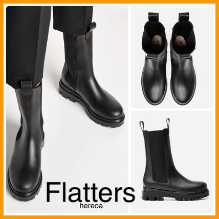 Casual Style Plain Leather Elegant Style Flat Boots