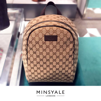 GUCCI Monogram Canvas Street Style Backpacks