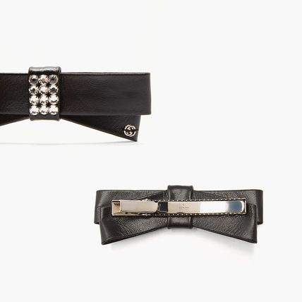 GUCCI Barettes Leather Party Style Elegant Style Clips