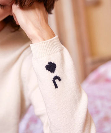 Crew Neck Heart Casual Style Wool Cashmere Rib