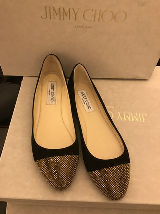 Jimmy Choo Suede Bi-color Logo Ballet Shoes