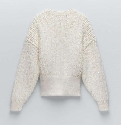 ZARA Cable Knit Casual Style Long Sleeves Plain Sweaters
