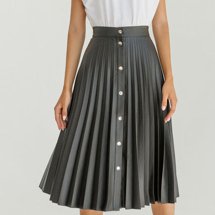 Flared Skirts Casual Style Faux Fur Pleated Skirts Plain