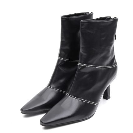 OPEN THE DOOR Street Style Plain Mid Heel Boots