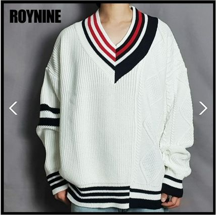Stripes Casual Style Unisex Wool Blended Fabrics