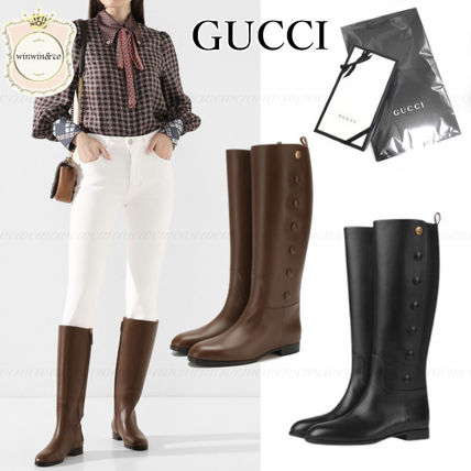 GUCCI Leather Elegant Style Flat Boots
