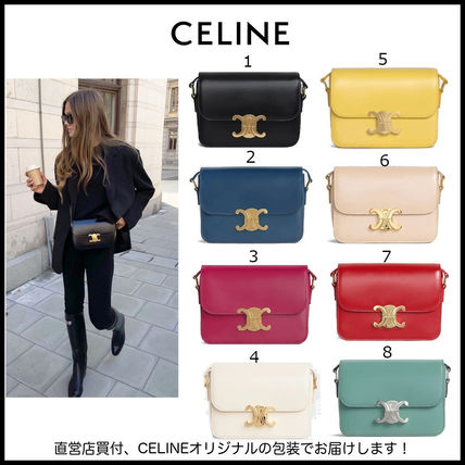 CELINE Triomphe Casual Style Unisex 2WAY Plain Leather Party Style