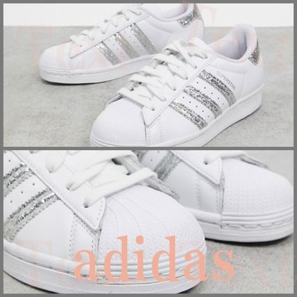 adidas Rubber Sole Casual Style Street Style Plain Leather Glitter