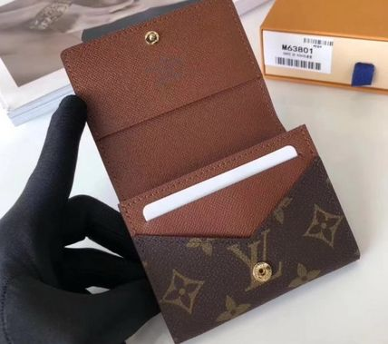 Louis Vuitton Monogram Leather Folding Wallet Logo Card Holders