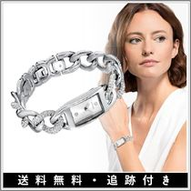 SWAROVSKI Casual Style Square Party Style Silver With Jewels