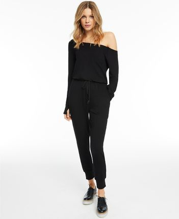Dungarees Casual Style Sweat Long Sleeves Plain Dresses