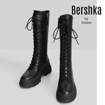 Bershka Lace-up Casual Style Plain Lace-up Boots